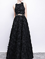cheap -A-Line Jewel Neck Floor Length Polyester Elegant / Black Prom / Formal Evening Dress with Sash / Ribbon 2020