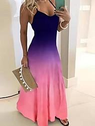 cheap -Women's Maxi Purple Black Dress A Line Color Block Strap S M