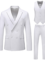 cheap -Tuxedos Standard Fit Notch Double Breasted Six-buttons Polyester Solid Colored