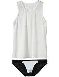 cheap -Men's Mesh Suits Nightwear Color Block Black White Blue S M L