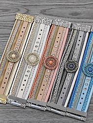 cheap -Women's Charm Bracelet Bracelet Bangles Bead Bracelet Braided Vintage Theme European Trendy Sweet Lolita Folk Style Leatherette Bracelet Jewelry Blushing Pink / Blue / White For School Date Vacation