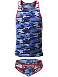 cheap -Men's Print Suits Nightwear Camouflage Blue Green Gray S M L