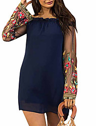 cheap -Women's Black Navy Blue Dress Shift Floral Off Shoulder S M