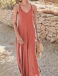 cheap -Women's Maxi Swing Dress - Sleeveless Solid Color Strap Blushing Pink Orange Gray Light Blue S M L XL XXL