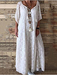 cheap -Women's Maxi White Dress Boho Spring Vacation Beach A Line Loose Solid Color Lace S M Loose