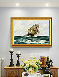 cheap -Framed Art Print European Type Oil Painting Sitting Room Sofa Background Seascape Sailing Boat Plain Sailing Scenery Ready To Hang Decorative Painting