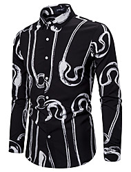 cheap -Men's Party Going out Tropical Shirt - Geometric Black & White Black