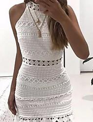 cheap -Women's Wine White Dress Bodycon Solid Color Halter Neck S M