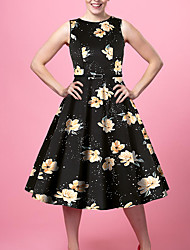 cheap -Women's Going out Vintage Style Street chic Sheath Dress - Floral Color Block Patchwork Print Black S M L XL