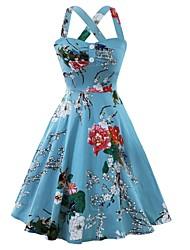cheap -Women's Light Blue Dress Sheath Floral Halter Neck S M