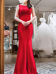 cheap -Mermaid / Trumpet Jewel Neck Sweep / Brush Train Satin Sleeveless Beach Red Wedding Dresses with Ruched 2020
