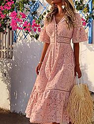 Недорогие -Жен. Макси Оболочка Платье - Рукав до локтя Сплошной цвет V-образный вырез Белый Розовый S M L XL XXL