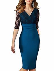 cheap -Women's Blue Dress Sheath Color Block V Neck S M