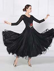 cheap -Ballroom Dance Dresses Women's Training / Performance Mesh / Lycra Embroidery / Split Joint Long Sleeve Dress