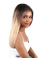 Недорогие -человеческие волосы Remy Необработанные девственные волосы Лента спереди Парик Свободная часть стиль Бразильские волосы Перуанские волосы Прямой Светло-коричневый Парик 180% Плотность волос / Длинные