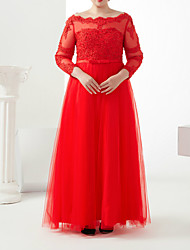 cheap -A-Line Plus Size Red Engagement Formal Evening Dress Off Shoulder 3/4 Length Sleeve Floor Length Satin Tulle with Sash / Ribbon Beading Appliques 2020 / Illusion Sleeve