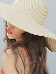 Недорогие -Жен. Классический Шляпа от солнца Солома,Однотонный Хаки Белый