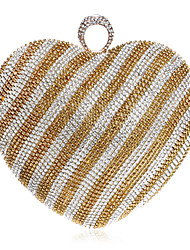 cheap -Women's Crystals Polyester Evening Bag Striped Black / Gold / Light Gold