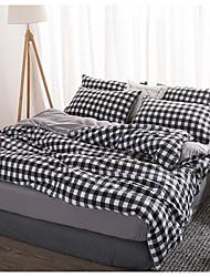 cheap -Duvet Cover Sets 4 Piece Linen / Cotton Plaid / Checkered Green Printed Simple