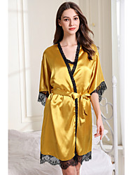 cheap -Women's Cut Out / Mesh Chemises & Gowns / Robes / Satin & Silk Nightwear Jacquard / Solid Colored Yellow Blushing Pink Blue S M L