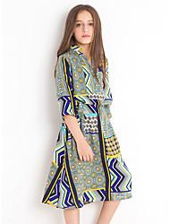 cheap -Kids Girls' Boho Cute Geometric Print Short Sleeve Midi Dress Rainbow