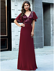 cheap -Sheath / Column Glittering Red Wedding Guest Formal Evening Dress V Neck Short Sleeve Floor Length Chiffon with Sequin 2020