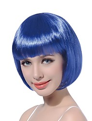 cheap -100 kanekalon fiber 14 35cm 160g pc women s girl s cosplay short synthetic bob hair wigs blue