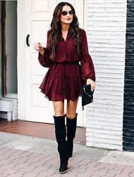 cheap -Women's Red Dress Sheath Plaid V Neck S M