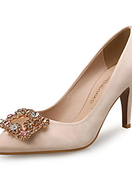 cheap -Women's Heels Stiletto Heel Pointed Toe Rhinestone Satin Sweet Spring &  Fall Almond / Red / Party & Evening