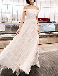 cheap -A-Line Off Shoulder Floor Length Polyester Elegant / White Prom / Formal Evening Dress with Ruched 2020