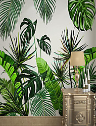 cheap -Custom Self-adhesive Mural Wallpaper Southeast Asia Big Leaf Suitable For Bedroom Living Room Coffee Shop Restaurant Hotel Wall Decoration Art