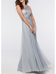 cheap -A-Line Elegant Blue Engagement Prom Dress One Shoulder Sleeveless Floor Length Tulle with Pleats 2020