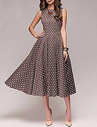 cheap -Women's 2020 A Line Dress - Polka Dot Spring & Summer Red Brown Green S M L XL