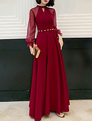 cheap -A-Line Hot Red Prom Formal Evening Dress Jewel Neck Long Sleeve Floor Length Spandex with Beading Sequin 2020