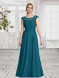 cheap -A-Line Empire Turquoise / Teal Wedding Guest Formal Evening Dress Jewel Neck Sleeveless Floor Length Chiffon with Ruched Crystals 2020