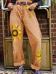 cheap -Women's Street chic Chinos Pants - Floral Black Yellow Blue M L XL