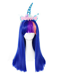 cheap -Cosplay Unicorn Cosplay Wigs Women's Straight bangs 21 inch Heat Resistant Fiber kinky Straight Multi-color Blue Anime