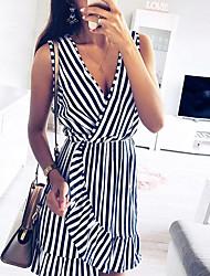 cheap -Women's Daily Casual Sexy Sheath Dress - Striped Color Block Blue & White, Ruffle Blue S M L XL