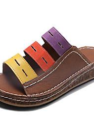 cheap -Women's Sandals Wedge Heel Round Toe PU Summer Blue / White / Brown