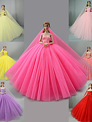 cheap -Doll Dress Party / Evening Wedding For Barbiedoll Solid Color Light Yellow 4 pcs Set 7 Pcs Set Satin / Tulle Polyester 1 X Doll Clothes For Girl's Doll Toy / Kids