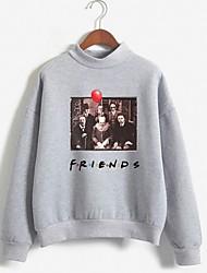 cheap -Women's Sweatshirt Print Basic White Blushing Pink Gray S M L XL XXL XXXL