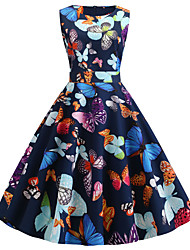 cheap -Women's Party Daily Active Street chic Swing Dress - Print Butterfly, Patchwork Print Black S M L XL