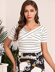 Недорогие -женская футболка в полоску с узором плеча