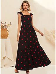 cheap -Women's Maxi Black Dress A Line Polka Dot Strap M L