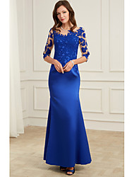 cheap -Mermaid / Trumpet Illusion Neck Floor Length Polyester Elegant / Blue Formal Evening / Wedding Guest Dress with Appliques 2020