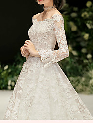 cheap -Ball Gown Off Shoulder Watteau Train Lace / Satin / Tulle Long Sleeve Formal Plus Size Wedding Dresses with Pearls / Lace Insert 2020