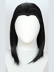 cheap -Synthetic Wig kinky Straight Halloween Asymmetrical Wig Medium Length Natural Black Synthetic Hair 18 inch Women's Best Quality Black