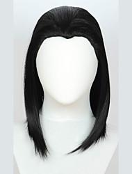 Недорогие -Парики из искусственных волос Естественные прямые Хэллоуин Ассиметричная стрижка Парик Средняя длина Черный Искусственные волосы 18 дюймовый Жен. Лучшее качество Черный