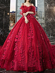 cheap -Ball Gown Wedding Dresses Off Shoulder Watteau Train Lace Tulle Half Sleeve Formal Romantic Glamorous Plus Size Red with Lace Lace Insert Appliques 2020