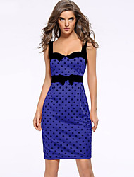 cheap -Women's Party Going out Vintage Style Bodycon Dress - Polka Dot Backless Blue S M L XL